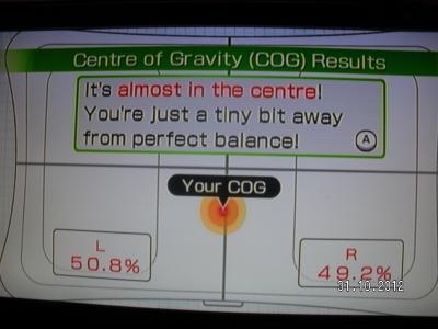 Измерен Център на Тежестта - 0,8% изместване в ляво